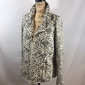 STYLE and CO Black Cream zip Knit jacket XL